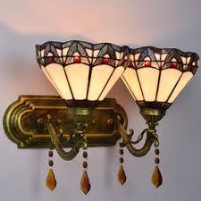 Tiffany Sconces Bronze Vintage Glass Shade Decorative Wall Sconces