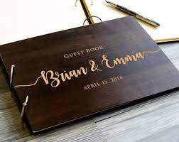 engraved wedding guest book engagement book etsy