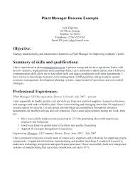plant manager resume general manager resume inssite