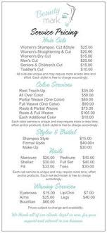 how much is average price for hair cut and color best 25 salon menu ideas on pinterest beauty price list ideas