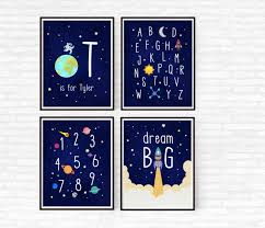 Abc Nursery Decor Outer Space Nursery Decor Boy Nursery Set Of 4 Prints Printable