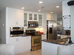 Recessed Kitchen Cabinets Kitchen Amusing Small Kitchen Decoration Using Cherry Staining