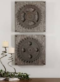 3 Stylish Industrial Inspired Loft Urban Industrial Loft Steampunk Decor Rusty Gears Cogs 3d Wall Art