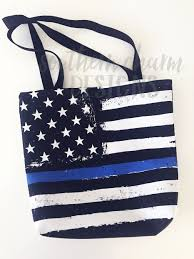 Thin Blue Line Flag Distressed Thin Blue Line Flag Tote Bag Southern Charm Designs