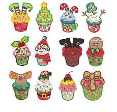 christmas applique cupcake christmas applique machine embroidery designs designs by