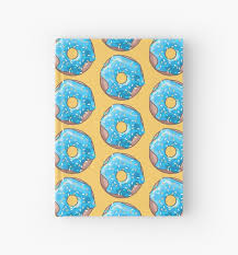 donut wrapping paper blue donut hardcover journals by xooxoo redbubble