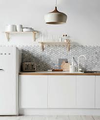 kitchen style white tile backsplash white modern hanging pendant