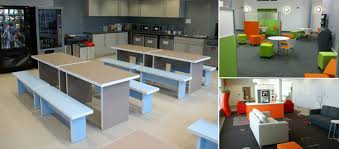 office kitchen and breakout area furniture including coffee points