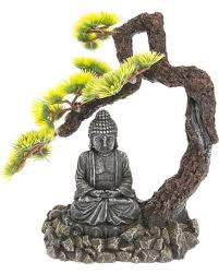 special top fin bonsai tree with buddha aquarium ornament