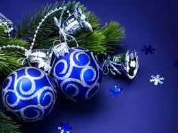 balls blue silver sequins bells tree branch