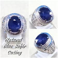 ring cincin alpaka cincin batu akik permata blue shappire cutting ring alpaka