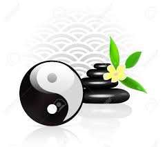 Fung Shwai by Feng Shui Background With Yin Yang Symbol Royalty Free Cliparts