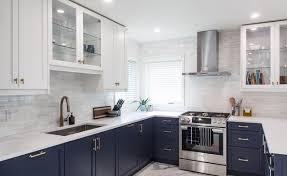 ikea navy blue kitchen cabinets ikea retrofit blue and white doors modern kitchen