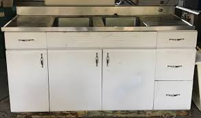 kitchen sink base cabinet and countertop sold vintage white metal cabinets stainless dbl sink top