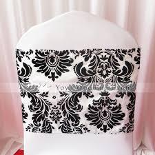 damask ribbon black and white flocking taffeta chair cover sash also call