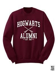 hogwarts alumni sweater hogwarts alumni in white font on a maroon unisex sweatshirt
