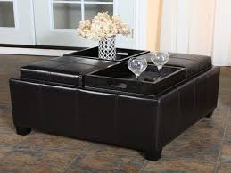 captivating coffee table storage ottoman leather tray top storage
