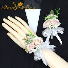 white corsages for prom free shipping 2017 new white pink party corsages prom groom