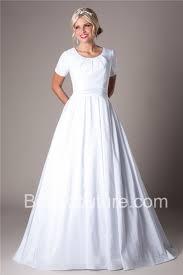 a line scoop neck short sleeve taffeta modest wedding dress button