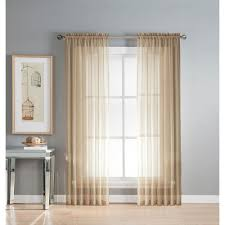 Sheer Panel Curtains Window Elements Sheer Linen Solid Voile Wide Sheer Rod