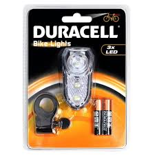 duracell 3 led front flashing light headlight bike mount belt clip