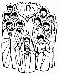 the apostles is pray for holy spirit in pentecost coloring page