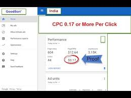 adsense cpc adsense cpc 0 17 usd per click in india with proof low to high