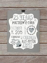 25 wedding anniversary gifts 25 year anniversary gift silver wedding anniversary custom gift for