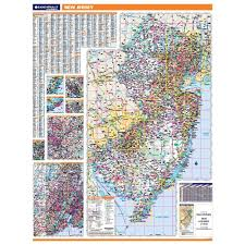 Map Of New Jersey Cities New Jersey Laminated State Wall Map