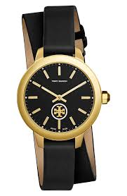 tory burch collins double wrap leather strap watch 38mm nordstrom