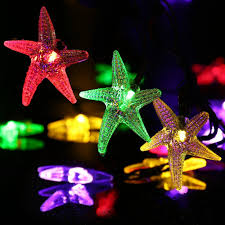 Outdoor Christmas Decor Amazon by Amazon Com Luckled Starfish Solar String Lights 20ft 30 Led
