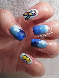 over the top coat autism awareness manicure