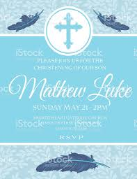 Template For Christening Invitation Card Baby Boy Baptism Or Christening Invitation Template Stock Vector