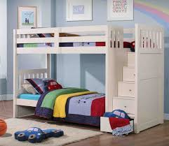 modern bedroom with boys beds kids bunk bed white stair storage