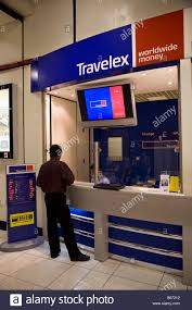 bureau change bureau de change operated by travelex within bahrain airport stock