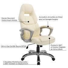 chaise de bureau beige fauteuil de bureau manager grand confort style baquet racing