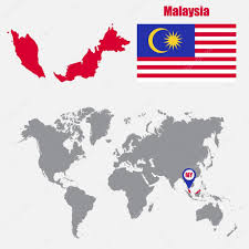 map malaysia vector malaysia map on a world map with flag and map pointer vector