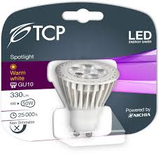 6 pack tcp 5w gu10 led bulbs energy saving 50mm height warm
