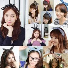 korean headband 1pcs korean dots bunny rabbit ear ribbon headwear hairband