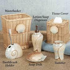 bathroom theme stone shower floating shelves shell decor theme