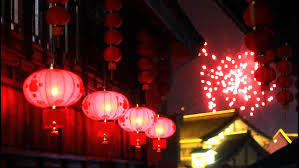 fireworks lantern asian lanterns and fireworks stock footage 3900125