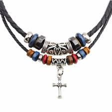beaded necklace rope images Vintage gothic dual strand leather braid classic cross silver jpg