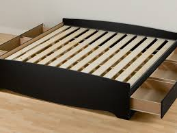 Reclaimed Wood Double Bed Frame Bed Frame Brown Wooden Flat Platform Bed With White Fabric