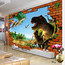 chambre dinosaure 3d bande dessinée murales dinosaure mur cassé brique wallpaper kid