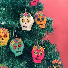 mexican ornaments mini pinata sugar skull tree