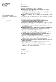 resume examples for financial analyst best financial analyst job