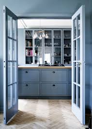Blue Green Kitchen Cabinets Entrancing Blue Color Kitchen Cabinets With Grey Color Granite