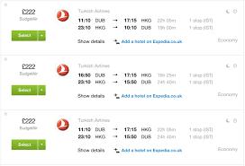 4 turkish airlines flights to hong kong just 222 return