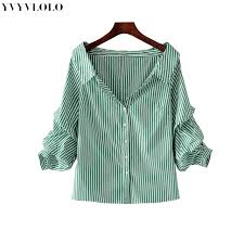 summer blouses shoulder green striped fold three quarter sleeve blouse