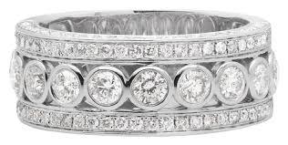 14k white gold mens wedding band 14k white gold mens bezel 3d diamond wedding band 10mm 3 ct ring
